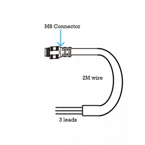2m Female M8 Connector with 3 wires