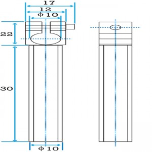 Clamping 10mm Tube with 10mm Shaft Short Angle Arm