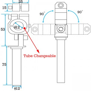 Clamping 12mm Tube & Swivel with 12mm Shaft Short Elbow Arm