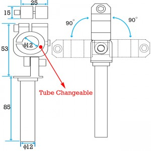 Clamping 12mm Tube & Swivel with 12mm Shaft Short Elbow Arm - Length -135