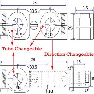 90 degree Swivel & Tube Changeable Cross Clamp for 10mm tubes