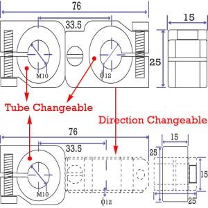 90 degree Swivel & Tube Changeable Cross Clamp for 10mm tube & M10 threaded arm