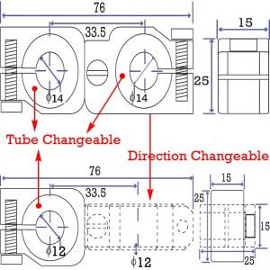 90 degree Swivel & Tube Changeable Cross Clamp for 14mm tubes