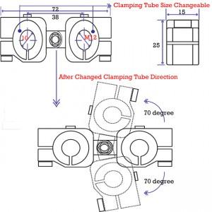clamping 10mm&M12 Horizontal Swivel & Tube Changeable Cross Clamp