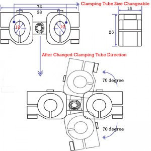 clamping 14&10mm Horizontal Swivel & Tube Changeable Cross Clamp