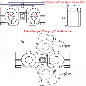 clamping 12&12mm Horizontal Swivel & Tube Changeable Cross Clamp