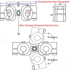 clamping 20&20mm Horizontal Swivel & Tube Changeable Cross Clamp