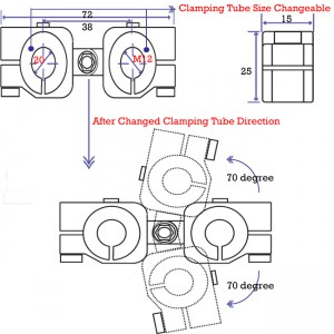 clamping 20mm&M12 Horizontal Swivel & Tube Changeable Cross Clamp